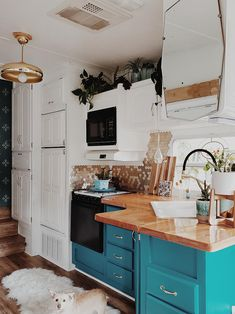 The interior of this bohemian wheel is a botanical wonderland! Featuring leeannieblivin on mountainmodernlif. Tyni House, Tiny House Living, Rv Living, Küchen Design, Interior Design, Camper Kitchen, Remodeled Campers, Home Renovation, Camper Renovation