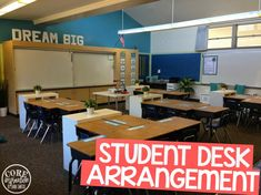 Creating a desk arrangement that creates flow in the classroom is essential.