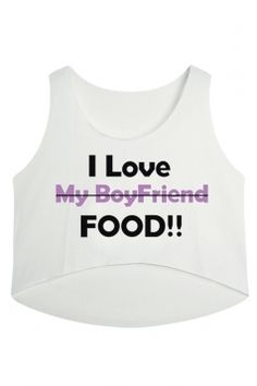 #White I Love food Printed High Low #Casual Womens #Crop #Top