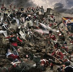 Peninsular War: Burgos Siege-- French positions attacked by the Highlanders (Black Watch)