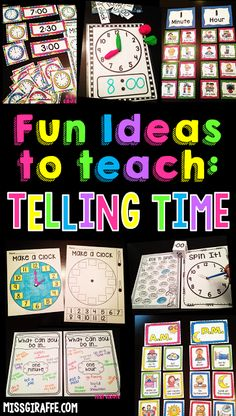 Telling time first grade time activities, time centers, and so many more fun ideas to teach telling time to the hour and time to the half hour in fun hands on ways!