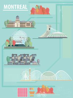 Voyage Canada, Montreal Quebec, Video Games For Kids, Illustrations, Vintage Travel Posters, Flat Design, Architecture, Free Food, Habitats