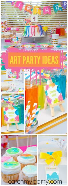 This happy and colorful neon art party is so vibrant! See more party ideas at Catchmyparty.com!