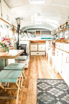 Unordinary Tiny House Bus Living Conversion Ideas 27 — Home Design Ideas Bus Living, Tiny House Living, Cozy House, School Bus Tiny House, School Bus Camper, Bus Remodel, Converted School Bus, Bus Interior, Van Home