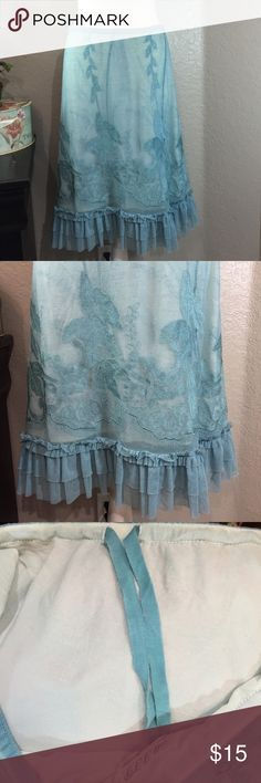 Max Studio Specially Products Lace Skirt Sz M  Beautiful skirt, gently used. Shell is 65% polyester and 35% cotton, lining is 100% nylon. Drawstring waistband. Max Studio Skirts Midi