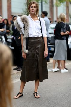 If a leather midi skirt wasn't enough, why not add a touch of fur?