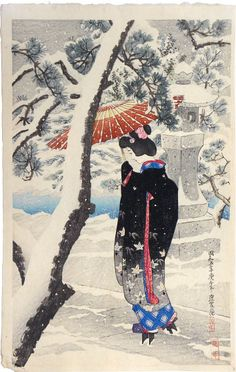 Ito Shinsui (1898-1972): The First Series of Modern Beauties: Snow at the Shrine, woodblock print, 1930.