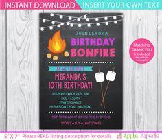 camp invitation / bonfire invitation / bonfire party invitations / smores invitation / bonfire birthday invitations / INSTANT DOWNLOAD by ApplePaperie on Etsy https://www.etsy.com/listing/214225341/camp-invitation-bonfire-invitation