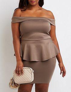 b7fa6e94133 Plus Size Off-The-Shoulder Peplum Dress Plus Size Bodycon Dresses