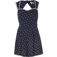 navy boat print waisted playsuit - playsuits - playsuits \  jumpsuits - women - River Island