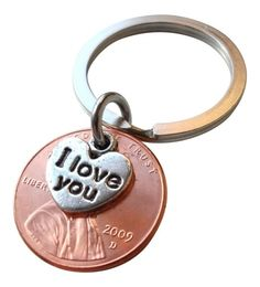 Penny Keychain with the year you were MARRIED on it! Would make such a great gift or stocking stuffer for your spouse! Can also do pennies for the year your kids were born