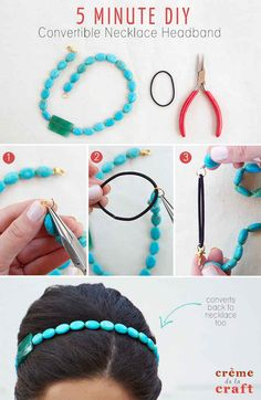Use this method to convert any necklace you have into a headband.