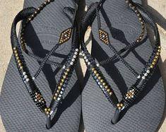 Women Sandals, Boho Sandals, Flip Flops, Boho Gifts, Bohemian Shoes, Havaianas, Thong Sandal, Flat Sandals, Beaded Flip Flops, Vegan Shoes