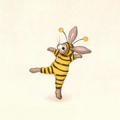 The bumble bee bunny~ Beatrix Potter, Illustrations, Illustration Art, Lapin Art, Bee Drawing, I Love Bees, Cute Bee, Rabbit Art, Bee Art