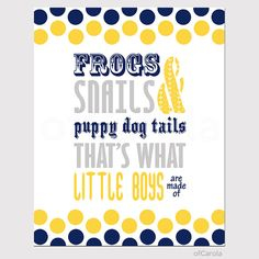 """Frogs Snails Puppy Dog Tails Boys Wall Art Quote Print, Dots Navy Blue Yellow Gray White Kids Baby Boys Nursery Room Decor ofCarola 8x10"""" on Etsy, $15.00"""