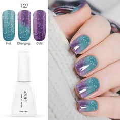 Cheap polish stone, Buy Quality polish remover directly from China polish car Suppliers: Azure Temperature Color Changing Nail Gel Polish Long-lasting Soak-off LED UV Chameleon Gel Varnish For DIY Manicure Gel Nail Varnish, Gel Polish Colors, Uv Gel Nail Polish, Uv Gel Nails, Nail Colors, Acrylic Nails, Nail Soak, Soak Off Gel Nails, Gel Uv Couleur