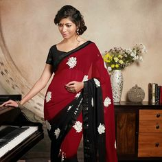 Dark Maroon and Black Faux Georgette Saree with Blouse