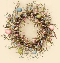 New Country Shabby Cottage Chic EASTER EGG BERRY WREATH Pastel Eggs Berries