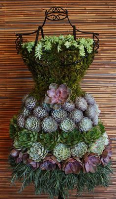 Real Succulents on a Wire Dress