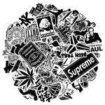 Tesan 100 Pcs Autocollant en vinyle blanc noir Sticker Graffiti Parfait pour les ordinateurs portables, les planches à roulettes, les…
