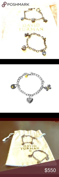 "💎 DAVID YURMAN MOTHER/DAUGHTER CHARM BRACELETS 💯Authentic David Yurman Cable Kids Matching Sterling Silver Charm Bracelets With 18K Gold. Will sell separately!!! STYLE NUMBER: KB1025 S865. THESE RETAIL FOR $425 EACH! Adult bracelet is 8"", has a butterfly, heart & padlock charms, closes toggle-style. Child's bracelet also has a butterfly, heart & padlock charms, but closes with a lobster clasp so you can choose which open link fits better, measures 6.5"". These were both only worn a handful…"