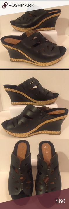 EARTHIES 'SETINA' BLACK WEDGE size 9.5 SOLD OUT EARTHIES 'SETINA' BLACK WEDGE SANDALS size 9.5 💥SOLD OUT💥 These beautiful sandals are PRE-LOVED❤️ NO BOX •NO TRADES• Earthies Shoes Wedges