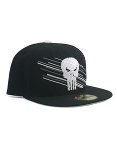 eca2d0c27d5 New Era Punisher 59fifty Custom Fitted Hat Size 7 1 2 Marvel Blurred Logo  Black