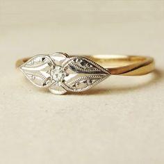 Art Deco Diamond Solitaire Teardrop Design Ring, 1920's Diamond Palladium and 9k Gold Engagement Ring Size US 7.5 / 7.75