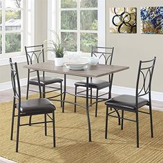 Dorel Living Shelby 5 Piece Rustic Wood and Metal Dining Set Espresso * Click on the image for additional details.Note:It is affiliate link to Amazon.