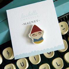 Illustrated Gnome Handmade Magnet by isabellsumbrella on Etsy