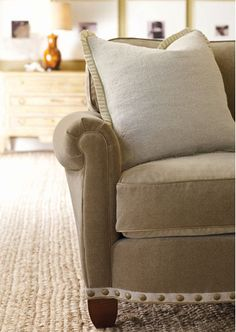 Linen colored velvet with ribbon and nailhead trim.