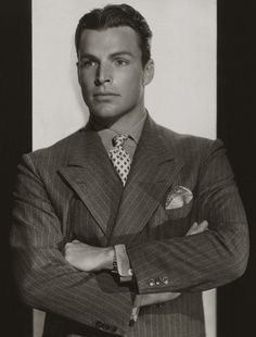 A perfect example of a classic men's suit from the 1930s.   Buster Crabbe, 1936