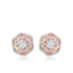 Diamond Earrings Cluster Stud Swirl Twist Solid 10k Rose Gold Ladies Womens Gift #CaratsForYou #Stud