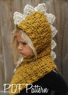 Crochet PATTERN-The Drako Dino Cowl (12/18 month,Toddler, Child, Adult sizes)