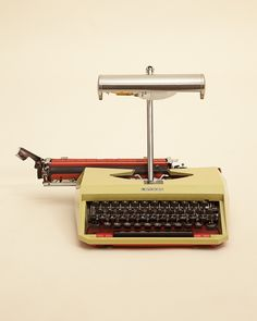 A Mercedes Typewriter recreated into a quirky desk lamp. Restoration Services, Furniture Restoration, Colorful Couch, Painted Chairs, Interior Design Studio, Repurposed Furniture, Interior Accessories, Typewriter, Pretty Cool