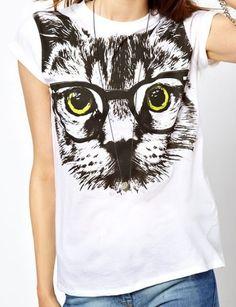 {cat in glasses t-shirt}