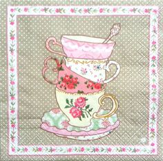 4 Vintage Paper Napkins for Decoupage Lunch Decopatch Mad Hatters Tea Party Cake