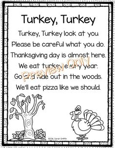 Turkey Turkey - Thanksgiving Poem for Kids