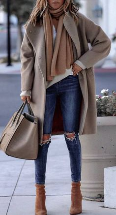 how to style a cashmere scarf : top nude coat bag rips boots