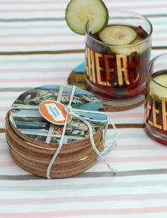 Vintage postcard coasters summon vacation memories with every sip. #DIY