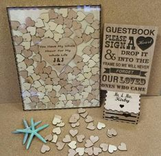 Items similar to 200 Heart Wedding Guest book drop box (Alternate Guestbook) Shadow Box 200 Heart Guest Book, Sign & Heart Box, custom on Etsy Wedding Boxes, Wedding Frames, Wedding Ideas, Rustic Wedding, Wedding Spot, Diy Wedding, Wedding Favors, Dream Wedding, Book And Frame