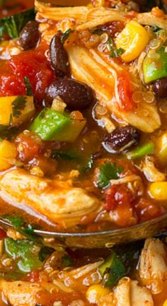 Slow Cooker Chicken Enchilada Quinoa Soup