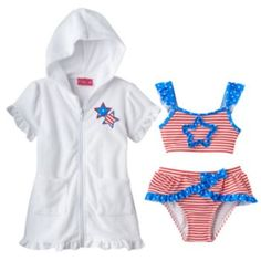OMG HOW CUTE IS THIS FOR EMMA!!!! Penny M Stars & Stripes 3-pc. Bikini Swimsuit Set - Baby Girl