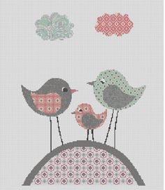 Counted Cross Stitch Pattern, Nursery Art, New Baby, Birds, Clouds, Instant PDF Download