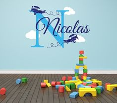 Personalized Airplane Name Decal Clouds Decal by NewYorkVinyl