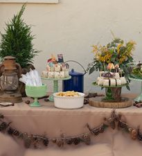 Plan a super-sweet outdoor lunch complete with trays piled high with sandwich wraps (they look like logs!), pinecone garland and lanterns. Set up several picnic tables and relax in camp-inspired style for an afternoon baby shower.