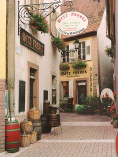European photo of wine street in Ribeauville(Alsace), France by Dennis Barloga | Photos of Europe: Fine Art Photographs by Dennis Barloga