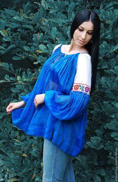 Купить Нарядная вышитая блуза «Сияние» шелковая синяя блуза - синий, шелковая блуза