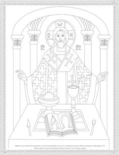 Byzantine Icon coloring page, The Holy Eucharist icon found at St. Josephat Ukrainian Catholic Seminary.