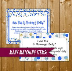 How Big Is Mommy's Belly Game Blue and Gold - Printable Baby Shower Mommy Belly Game Blue and Gold Dots - Instant Download